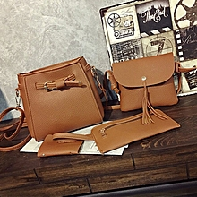 a945dd41434 4 In 1 PU Leather Bag Tote Beg Handbags Sling Bag Adjustable Shoulder Bag  Light Brown