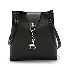 Women Handbag Solid Color Shoulder Bag Storage Bag With Adjustable Strap Black
