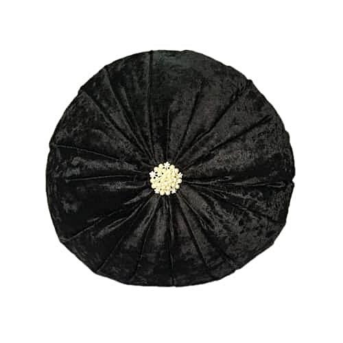 Throw Pillow- Round Black 38x 38 Cm