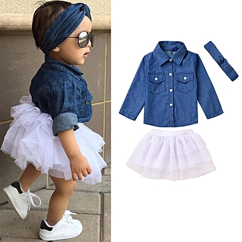 Toddler Kids Baby Girls Denim Tops T Shirt+Tutu Skirt Princess Dress 3Pcs Outfits Sets Clothes Suits Musiccool