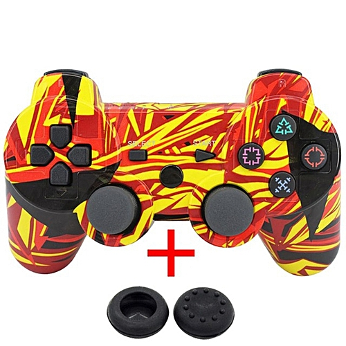 Wireless Bluetooth Game Controller Gamepad + USB Cable + 2 Silicone Cap For PS3 Color:Red And Yellow