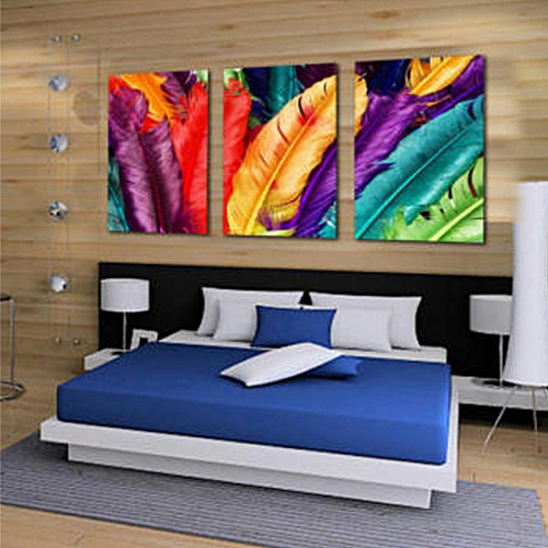 3Pcs Feather Modern Abstract Wall Oil Painting Canvas Print Home Decor No Framed