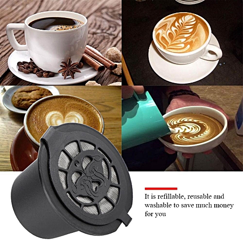 Food Grade PP + 304 Stainless Steel Reusable Refillable Refilling Coffee Capsule Filter (Black)
