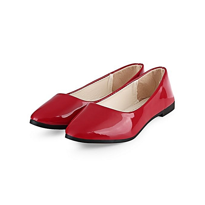 6d87dfd18f5 Fashion Women Patent Leather Flat Shoes - Red