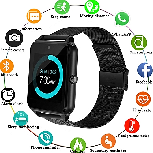 Smart Watch----Metal Strap Bluetooth Wrist Smartwatch Support Sim TF Card Android&IOS Watch Multi-languages--BLACK