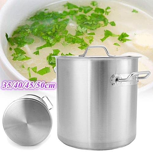 Large Stainless Steel Stock Pot Kitchen Restaurant Soup Cookware# 45cm*45cm