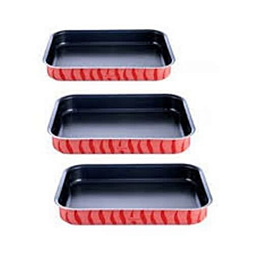 Non Stick Rectangular Oven Dish Set Of 3 - Red [J1195682]