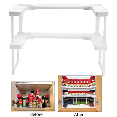 Kitchen Shelf Spice Rack Stackable Organizer Jar Bottle Storage Cupboard Holder White