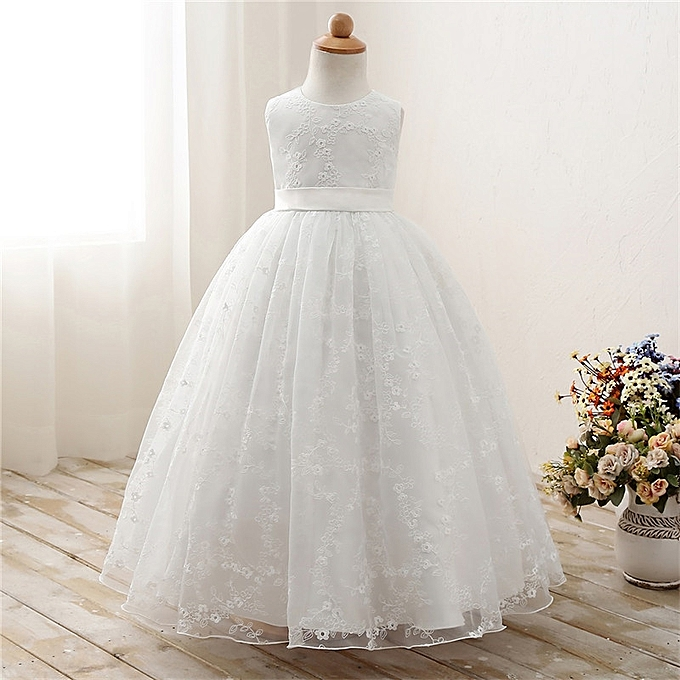 65e858e8c99 White Lace Flower Girl Dresses For Wedding Prom Party Event Gown Children  Princess Girl Graduation Ceremony