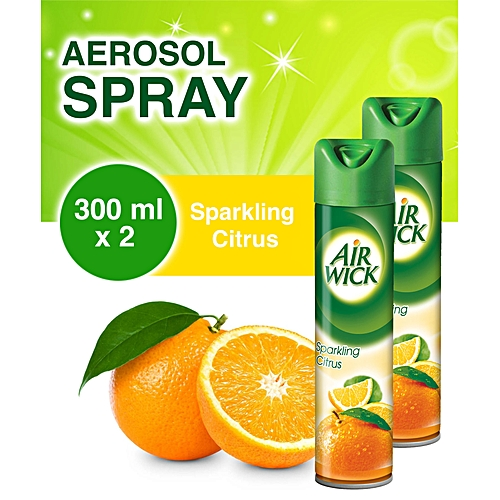 Aerosol Sparkling Citrus Air Freshener 300ml - Pack Of 2