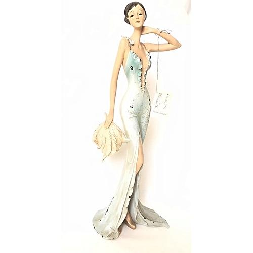 Figurine : Tall Lady Holding A Large Leaf
