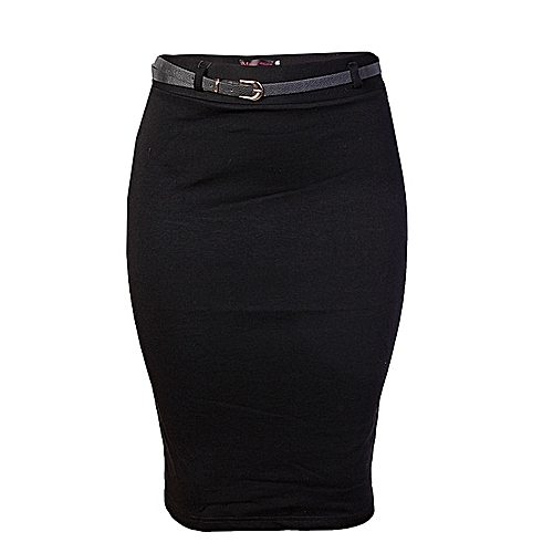 Bodycon Midi Skirt With Belt - Black