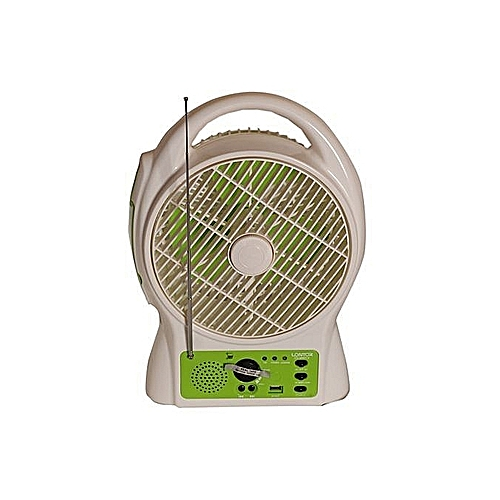 """Efficient Lontor Size 8"""" Rechargeable USB Multifunctional Fan With Radio"""