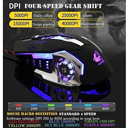 Leegoal PC Laptop Mouse Mice 6 Programmable Buttons With 7 Color Auto-changing Shade LED Gaming Gamer Ergonomic Mouse (Black)