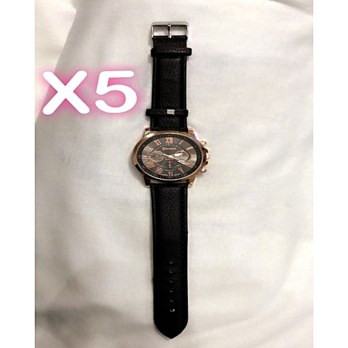 Geneva 5 In 1 Bundle Casual Leather Unisex Wristwatch Black