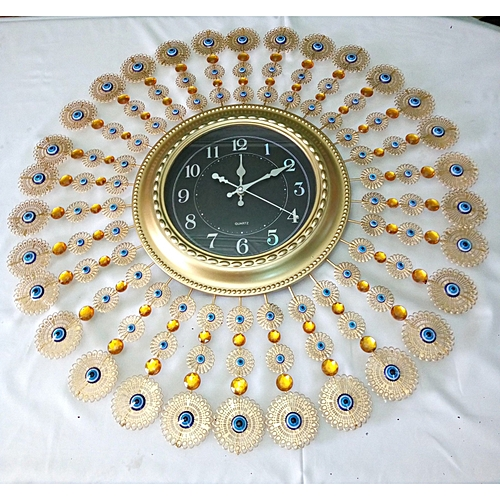 Wall Clock Decoration, Gold, Blue And Gold Yellow Stone