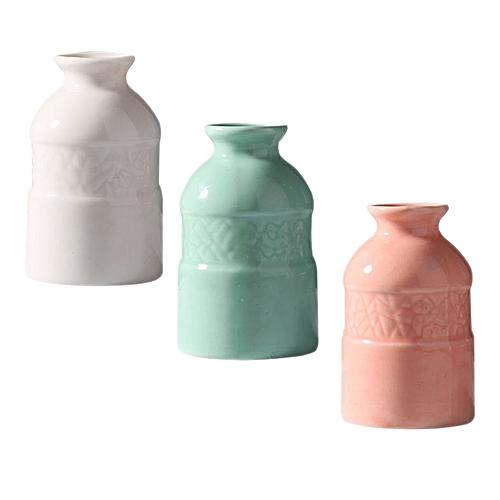 3pcs Ceramic Vase Creative Home Office Decoration Desktop Flowers Simple Crafts Ceramic Aromatherapy Bottle (blue; Pink; White 1 Each)