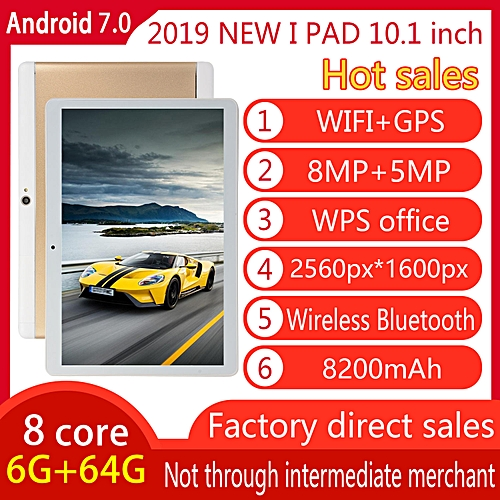 HOT SALE 10.1'' 4G+64GB Android 7.0 Tablet PC Octa 8 Core HD WIFI Bluetooth 2 SIM 4G - Gold//Multi