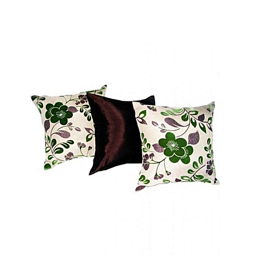 Set Of 3 Plush Floral Pillows - Multicolour