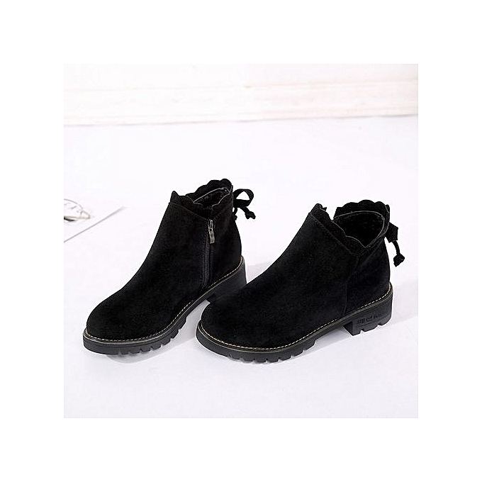 Womens Butterfly Short Boots Booties Ankle Boots Fashion Low Shoes Wedge  BK 35-Black b4583f7885