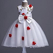 6efb3bfa75 Girl  039 s White Dress With Red Flower
