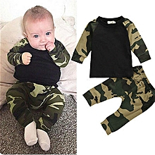 7bc14791793d3 Cute Camouflage Newborn Boys T-shirt Top+Long Pants Outfit