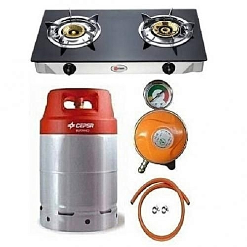 12.5kg Gas Cylinder With Universal Glass Top Double Burner, Metered Regulator, Hose & Clips