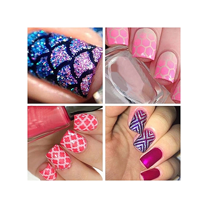 Buy Sanwood 12Tips/Sheet Nail Art Hollow Stickers Nails Stamping ...