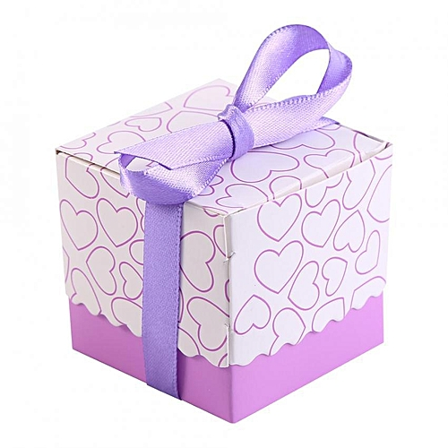 50Pcs Square Shape Wedding Birthday Party Favor Chocolate Candy Gift Boxes With Ribbon Purple