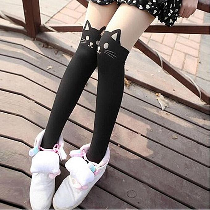 d5d9fe412 ... Kitten Print Knee High Length Socks CAT Tail Tattoo Tights Pantyhose  Stockings ...
