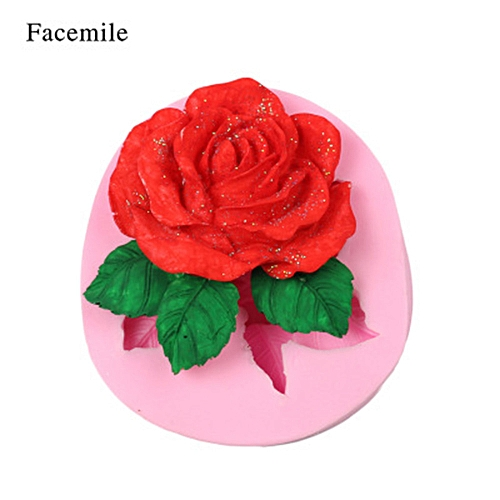 Silicone 3D Big Rose Flower Fondant Cake Chocolate Sugarcraft Mould Mold Tool -As Shown