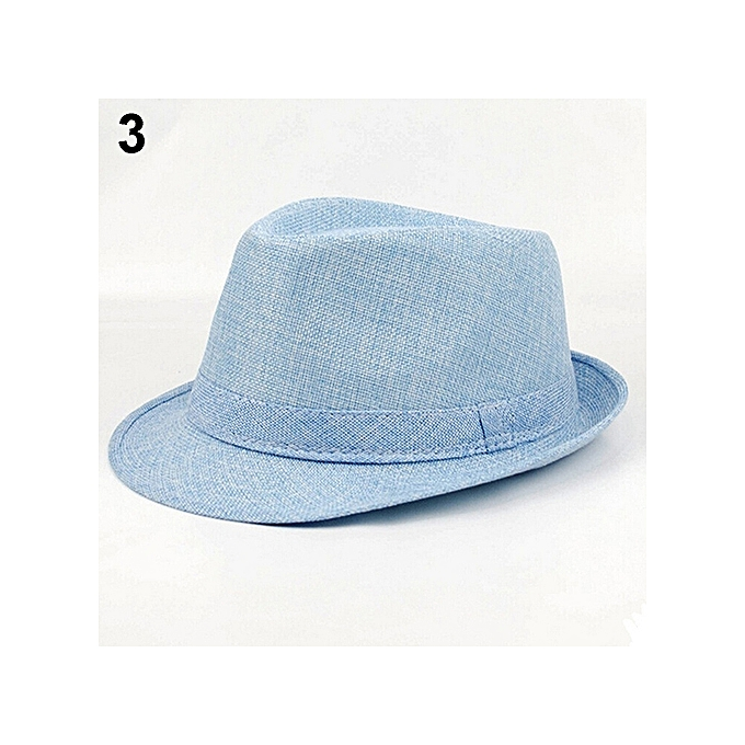 Men s Women s Fashion Summer Beach Hat Sun Screen Linen Fedoras Outdoor  Traveling Hiking Hats-Blue f53779e8e25