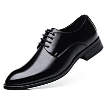 82898fdec Men's Breathable Leather Shoes Dress Business Shoes Pointed Lace Wedding  Shoes Men&