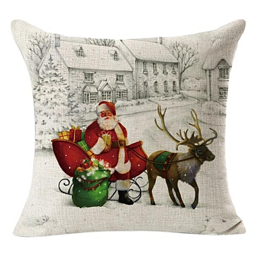 Africanmall Store Christmas Linen Square Throw Flax Pillow Case Decorative Cushion Pillow Cover-Beige