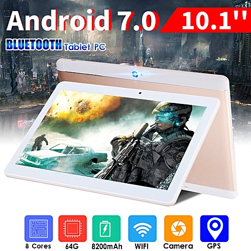 Tablet PC Rose Gold 10.1'' 64GB+4G Android 7.0 Octa 8 Core HD WIFI Bluetooth 2 SIM 4G