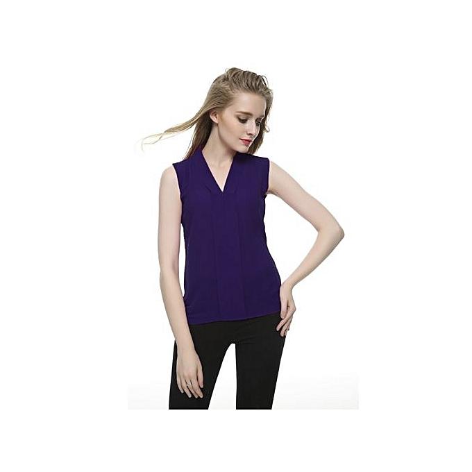 009e48f224f Women Chiffon Blouses Ladies Tops Female Sleeveless Shirt Blusas Femininas  Navy Blue