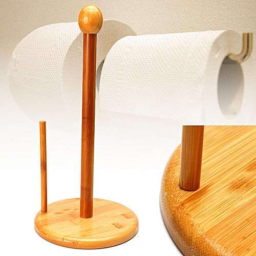 Natural Bamboo Tissue Roll Collection Holder Toilet Bathroom Paper Standing Rack