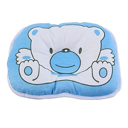 Allwin Bear Pattern Pillow Newborn Infant Baby Support Cushion Pad Prevent Flat Head-blue