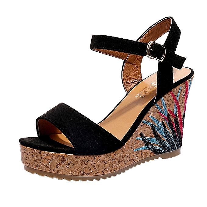 0a77d25eee Bliccol High Heel Shoes Bohemian Women Sandals Ankle Strap Straw Platform  Wedges Shoes High Heels Sandal