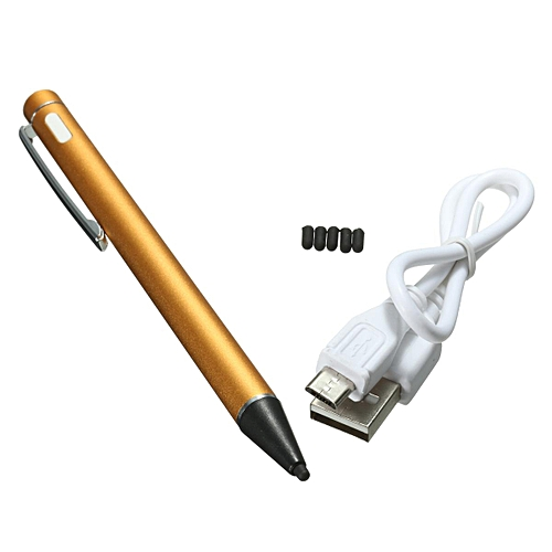 2.0mm Rechargeable LED Active Stylus Capacitive Tablet Screen Touch Drawing Pen Gold