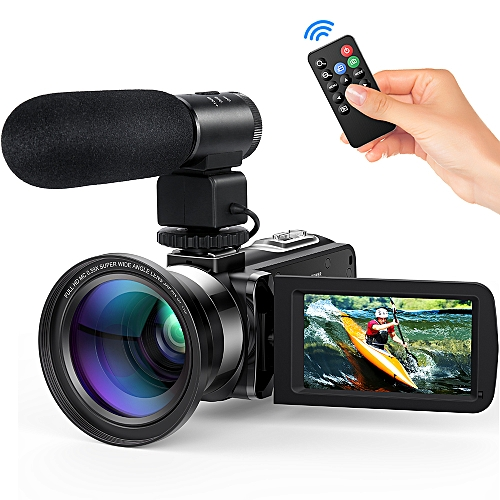 "Andoer FHD 1080P Camecorder Digital Video Camera Infrared Night Vision 24MP 3.0"" Rotating LCD Screen 16X Digital Zoom Remote Control With 0.39X Wide Angle Lens External Microphone"