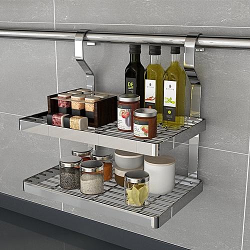Double Layer Stainless Steel Spice Racks Wall Hanging Storage Shelf - Metallic
