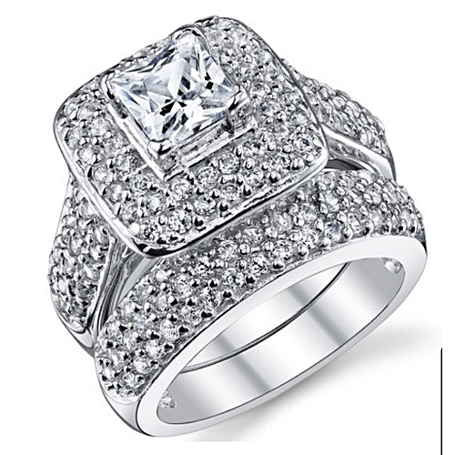 BLiNG 1 Carat Princess Cut Cubic Zirconia Sterling Silver 925 Wedding Engagement Ring Size 8