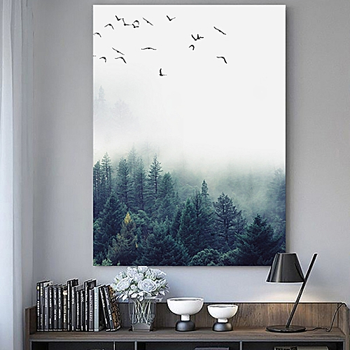 20*25cm Forest Landscape Wall Art Canvas Poster Print Nordic Style Painting Home Decor-Multi