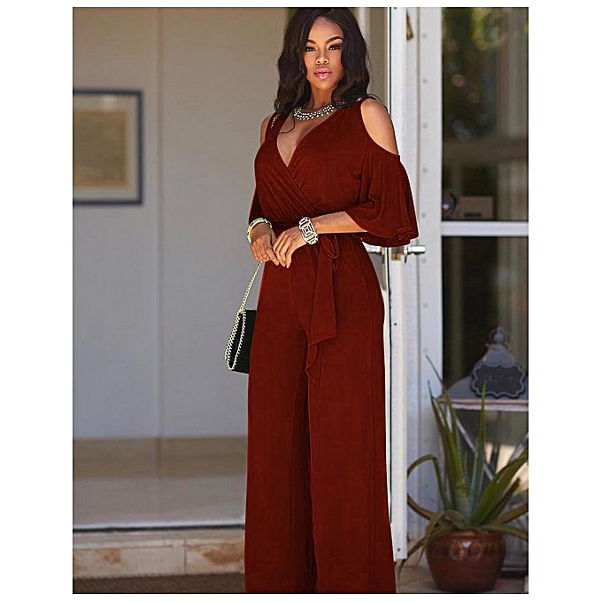 c6609fc821 Fashion Ladies V-nceck Cold Shoulder Classy Stylish Jumpsuit - Wine ...