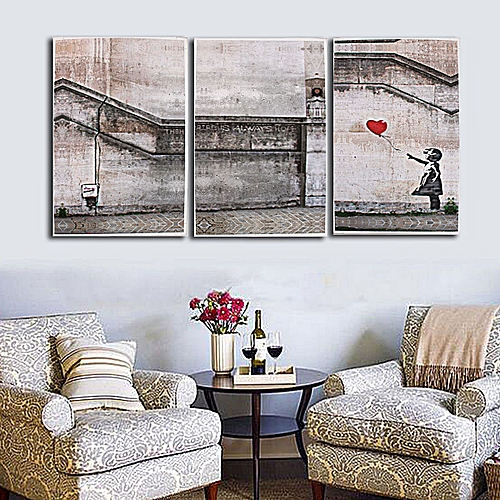 3 Piece Large Banksy There Is Always Hope,modern Handcraft Oil Painting-NO FRAME-Black+White+Red