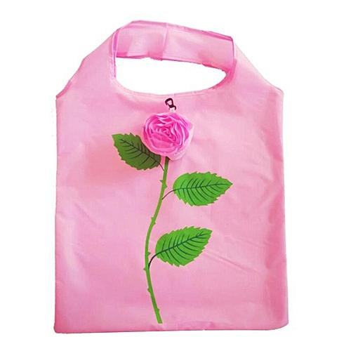 Rose Flower Reusable Folding Shopping Bag Travel Grocery Tote Bag