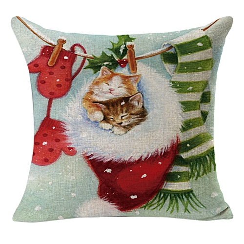 Fashion Christmas Linen Square Throw Flax Pillow Case Decorative Cushion Pillow Cover A