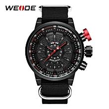 16390a7d4 WEIDE Sports Watch Male Clock Black Men Red Crown Pointer Watch Round Dial  Quartz Analog Buckle