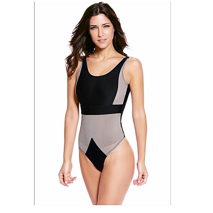 43beb1517cd Fashion Emfed Black Tan Mesh Cutout One Piece Swimsuit   Jumia.com.ng